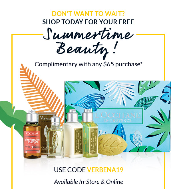 FREE Gift with any $65 Purchase!* USE CODE VERBENA19. SHOP NOW.